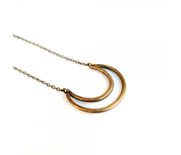 Bronze Crescent Necklace