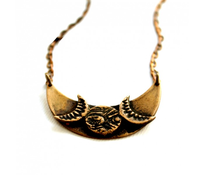 Eclipse Brass Necklace Handcrafted Jewelry